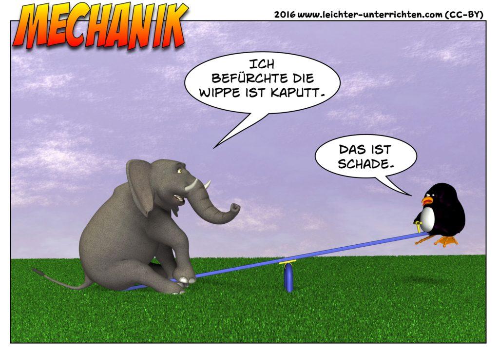 Physik Cartoon Hebelgesetz Wippe defekt