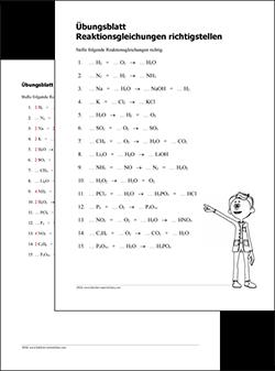 Kopiervorlage Reaktionsgleichungen richtigstellen