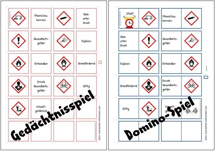Gefahrensymbole Domino und Gedächtnisspiel
