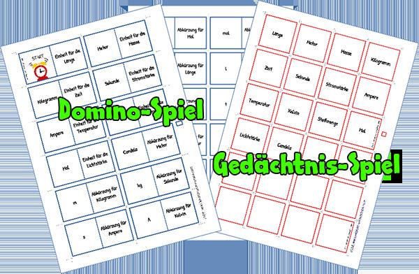 SI-Einheiten Domino und Gedächtnisspiel