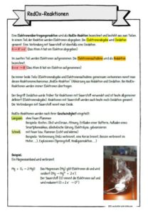 Infoblatt RedOx-Reaktionen
